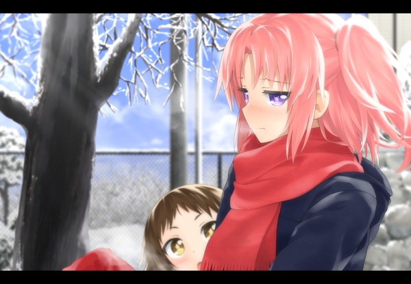 Konachan.com - 177699 blush haribote_(tarao) mikakunin_de_shinkoukei mitsumine_mashiro pink_hair scarf yonomori_kobeni (600 x 415)